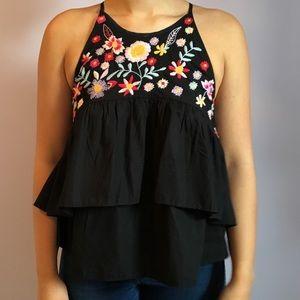 zara black peplum top with floral detail